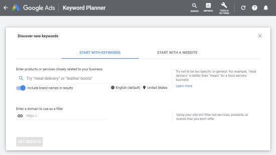 Enter a keyword into the Google Keyword Planner