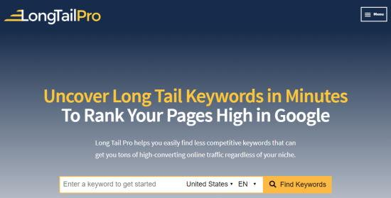 Long Tail Pro keywords front page