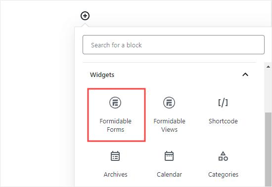 Selecting the Formidable Forms block to add to your post or page