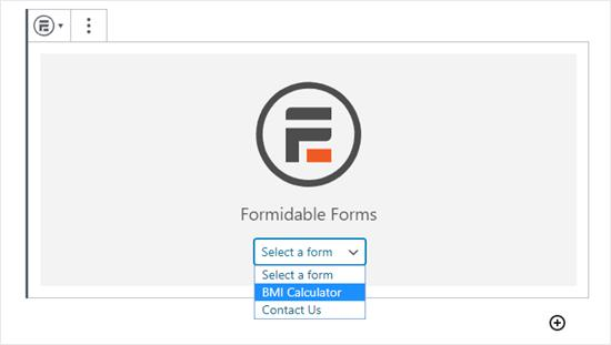 Selecting the correct form from the Formidable Forms dropdown