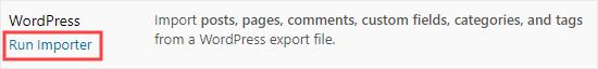 Click the link to run the WordPress import tool