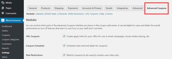 The Advanced Coupons tab in the WooCommerce settings